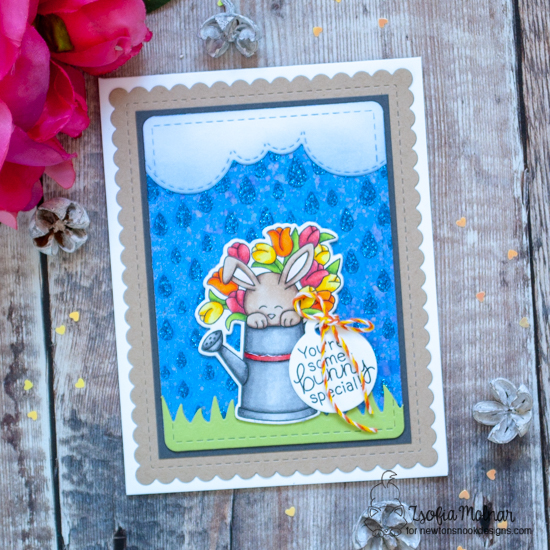Some-bunny Special Card by Zsofia Molnar | Hop Into Spring Stamp Set and Raindrops Stencil by Newton's Nook Designs #newtonsnook #handmade
