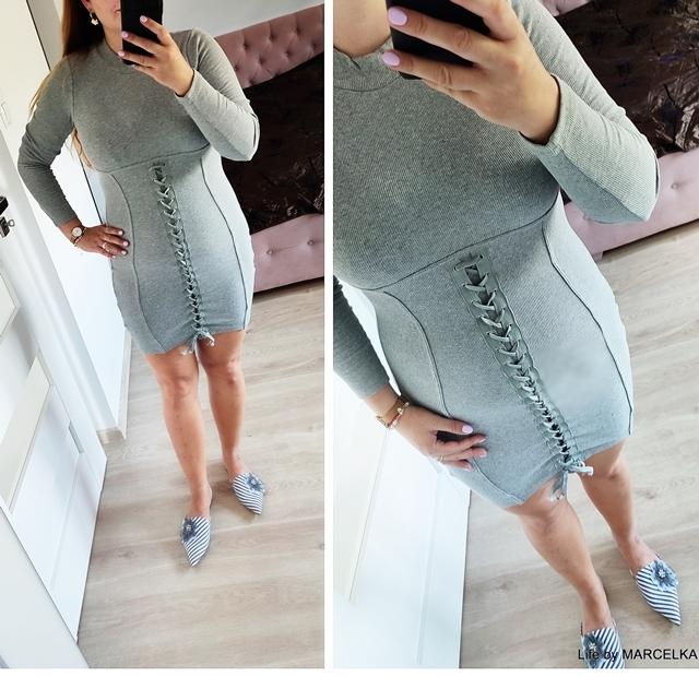 Grey Lace Up Front Long Sleeve Rib Bodycon Mini Dress - Kianna