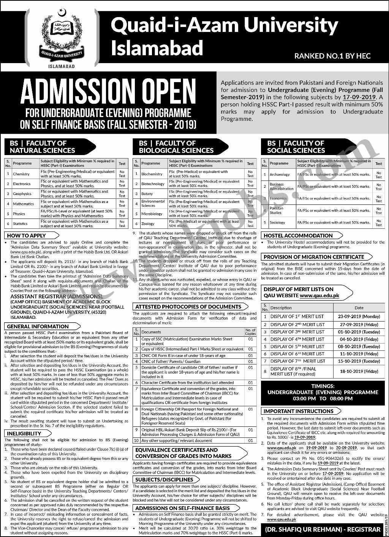 Quaid-e-Azam University Islamabad (Fall Semester 2019)