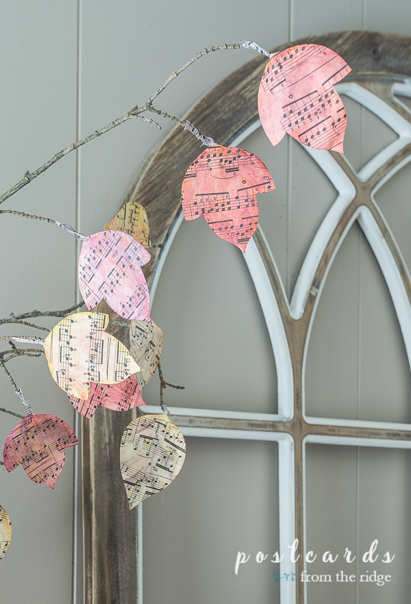 diy watercolor sheet music leaves attached to branches