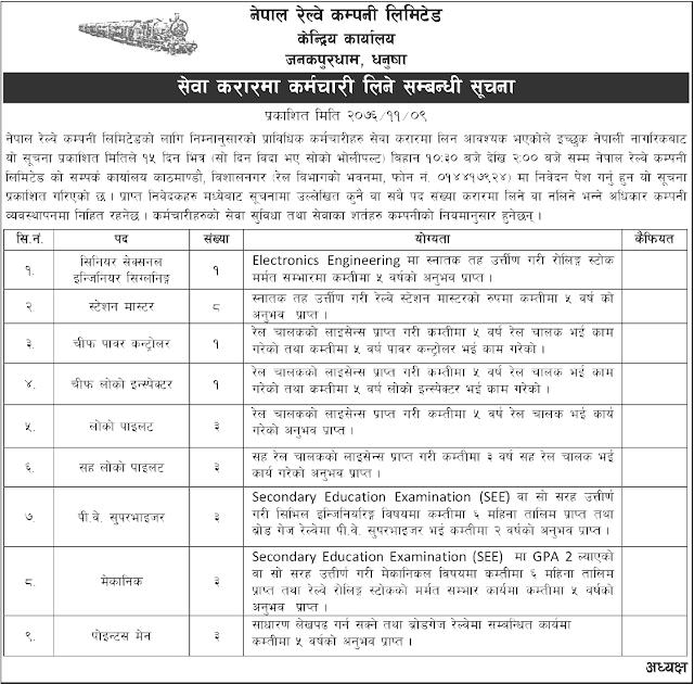 Nepal Railway Company Limited Vacancy Notice