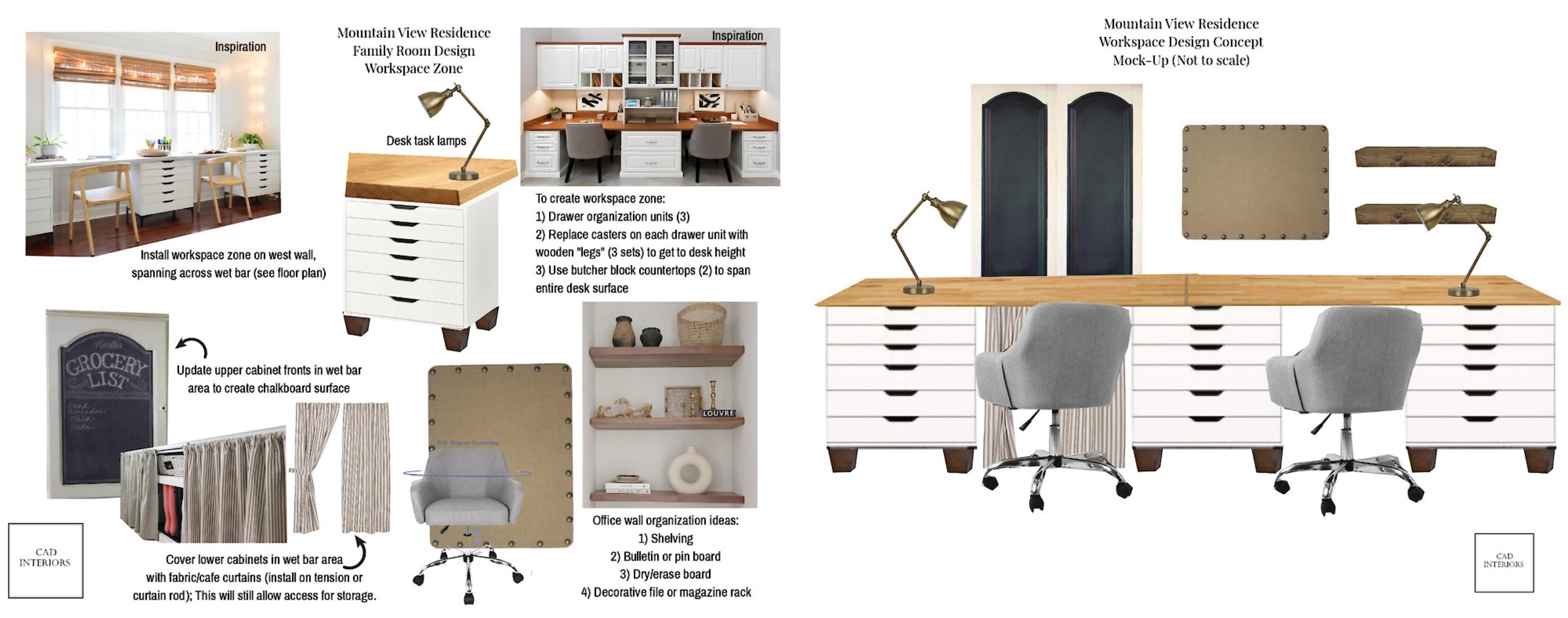Professional online virtual interior e-design home office space design