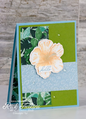 I am kicking off a new series on my blog today on using card sketches.  Todays card features the Timeless Tropical Stamp Set.