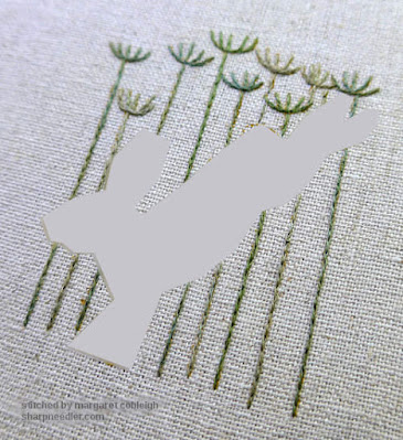 Jenny McWhinney's Queen Anne's Lace Travelling Work Station: Completed embroidered stems