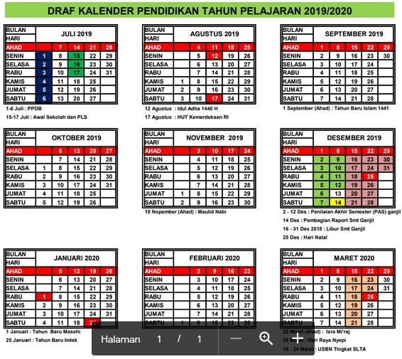 Kalender Pendidikan (Kaldik) Tahun Pelajaran 2019/2020 Provinsi Riau