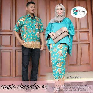 Setelan Baju Batik Pasangan Couple Gamis Muslim SRG201 Turkis