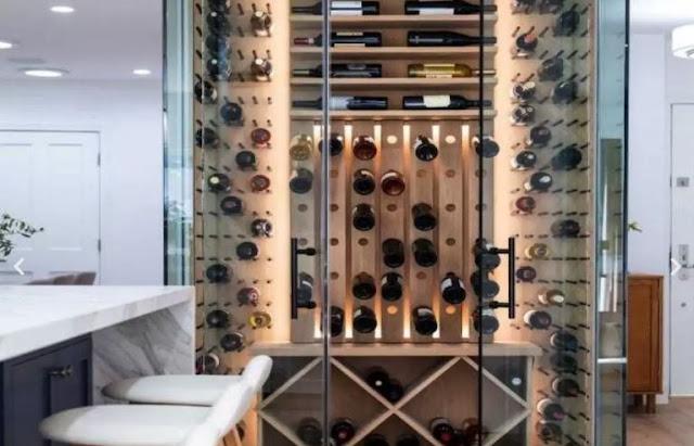 glass mirrors wine cellar storage wines bottle display