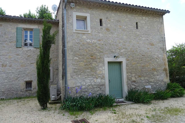 Zeder, Baum, Kiesweg,  helles Haus mit grünen Fensterläden