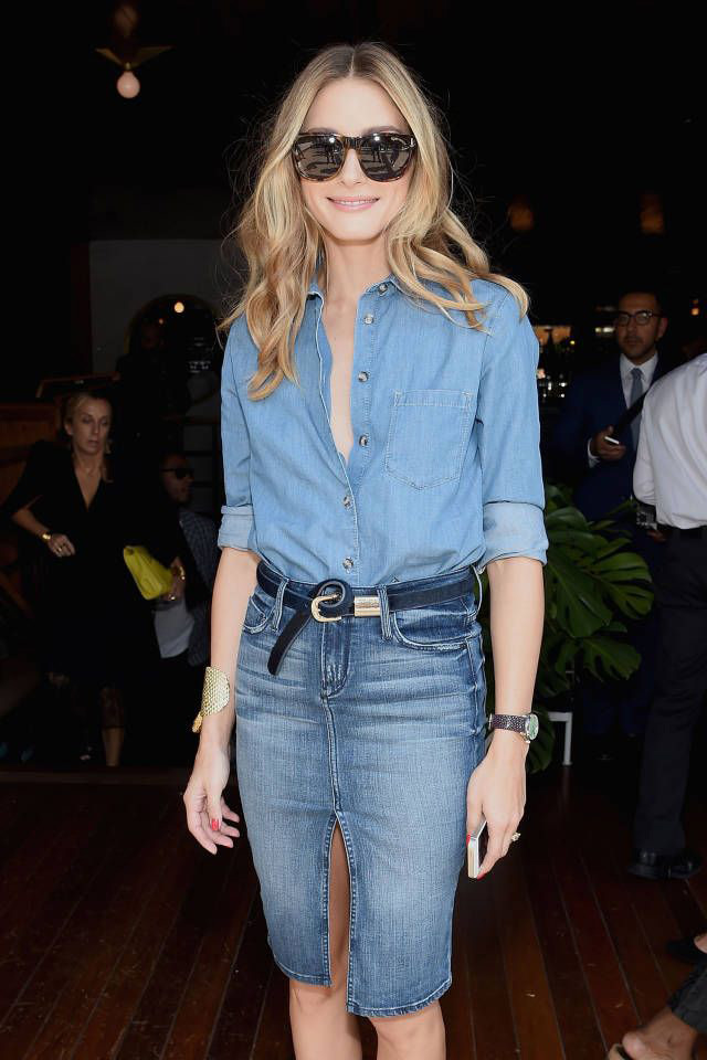 skirt with denim shirt, how to style denim on denim shirt and skirt, Olivia Palermo style