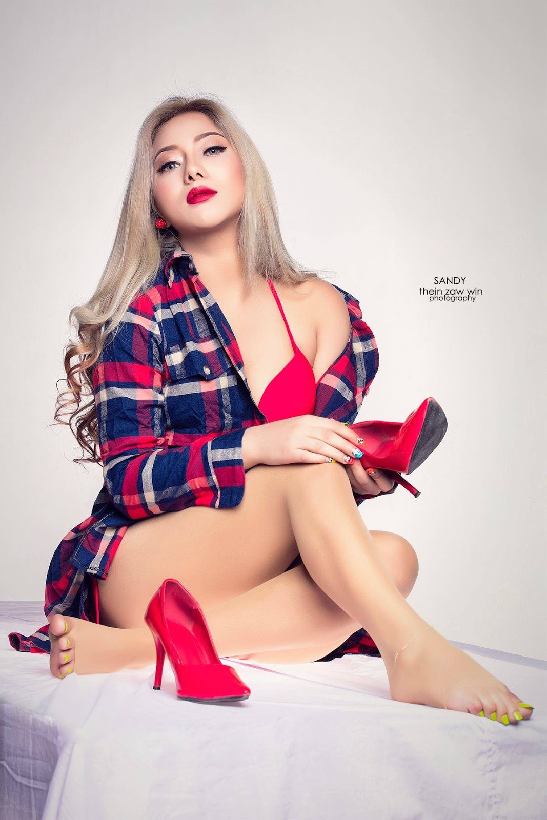 Myanmar Model Sandy Shows Off In Red Fashion Outfit