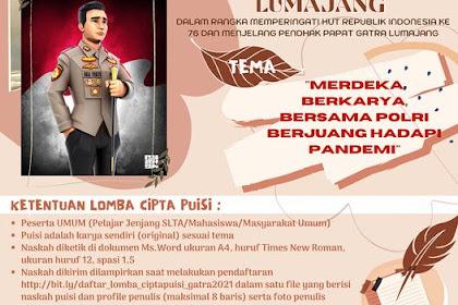 """Lomba Cipta dan Baca Puisi Gatra dan Polres Lumajang HUT RI Ke-76 """"Merdeka Berkarya, Bersama Polres Lumajang"""""""