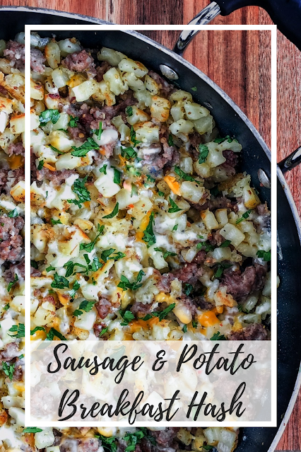 sausage potato cheese and parsley in a frying pan