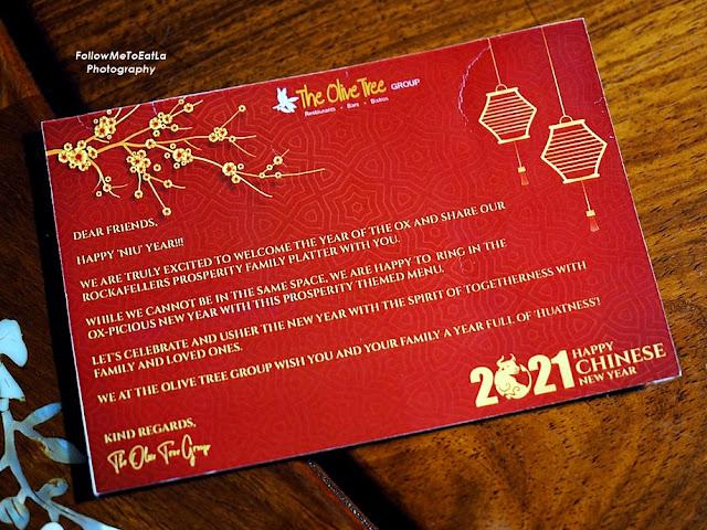 ROCKAFELLERS KITCHEN + BAR Chinese New Year 2021 Prosperity Takeaway Menu