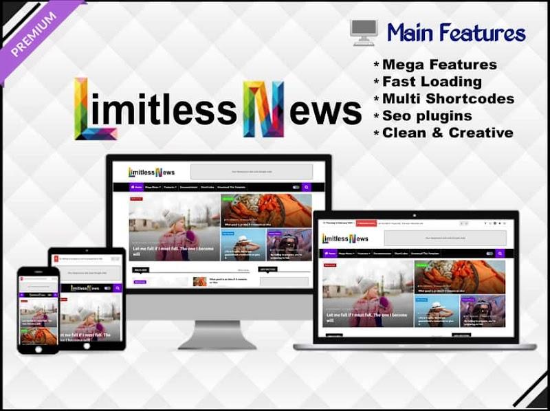Limitless News - Responsive & Creative Blogger Template - Responsive Blogger Template
