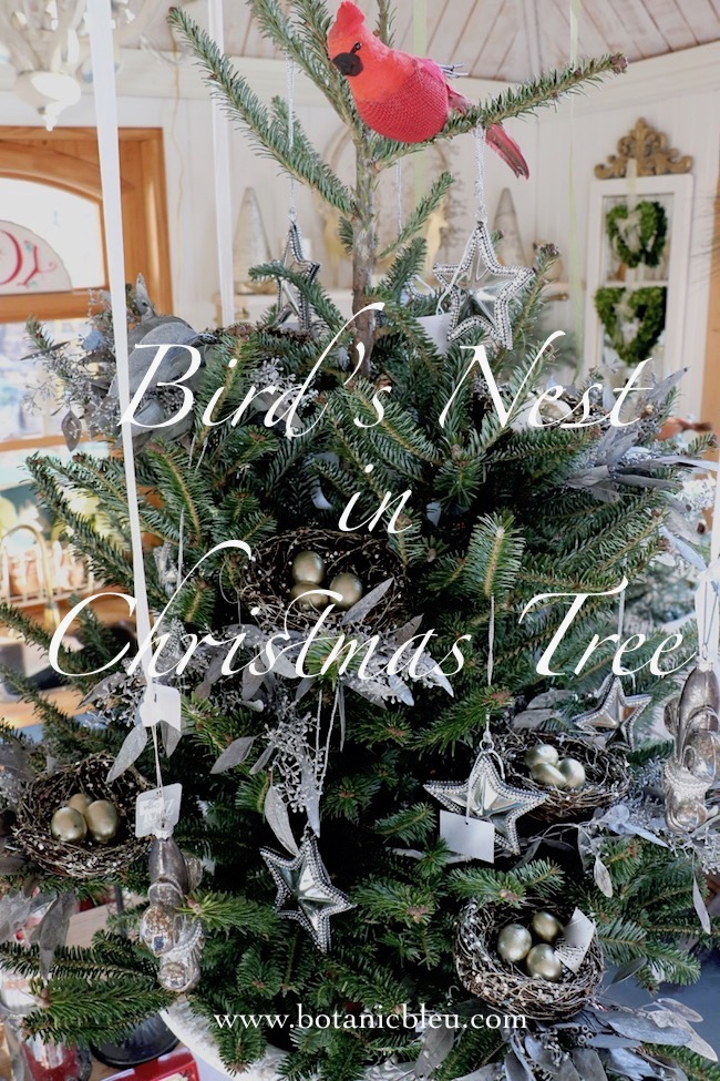 This year's table top tree in the garden shed is decorated with glittered bird's nests, silver preserved eucalyptus sprigs, and silver metal stars with rhinestones.