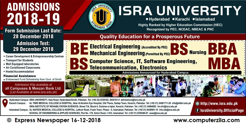 Admissions Open For Spring 2019 At ISRA Hyderabad Campus