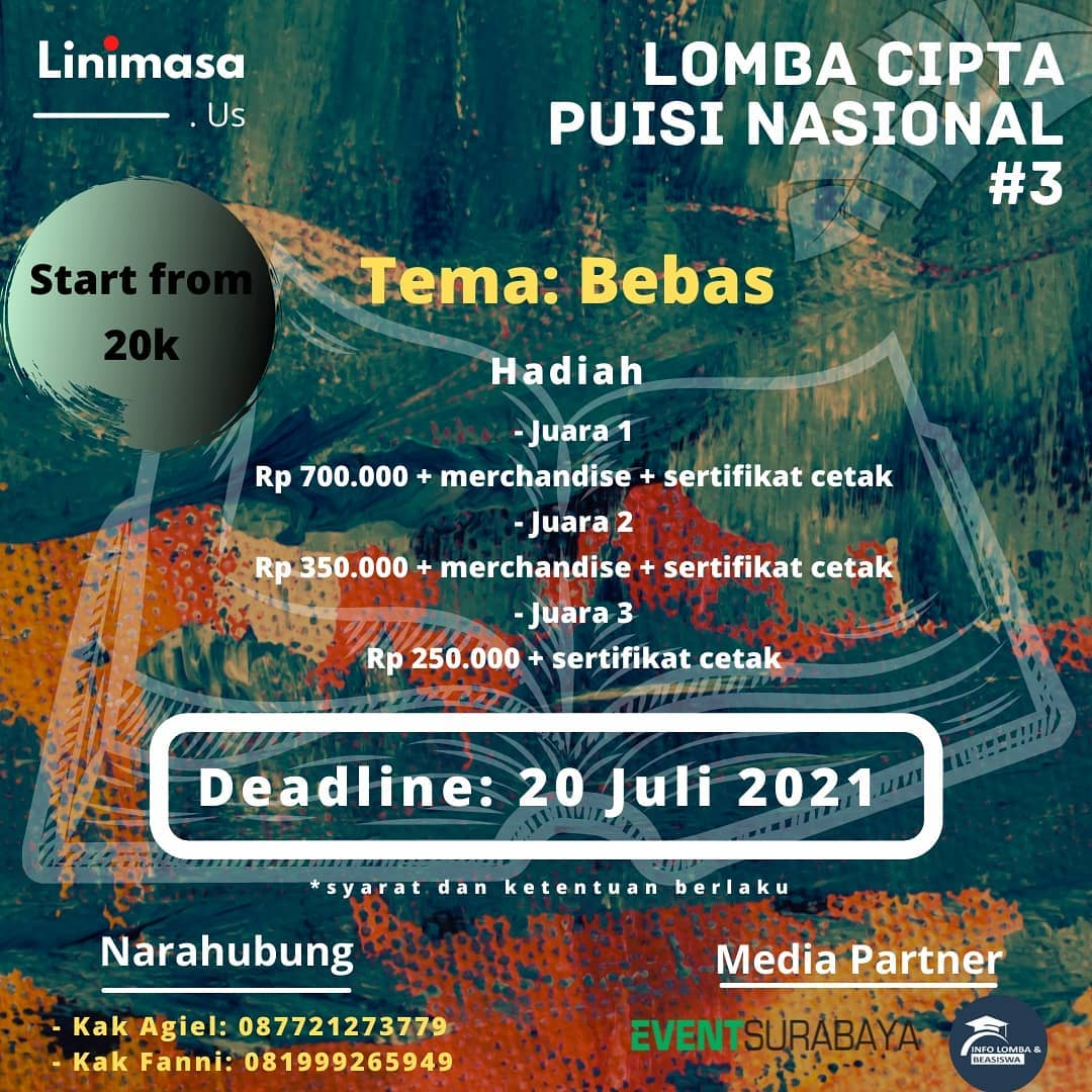Hadiah Lomba Cipta Puisi Nasional #3 Berhadiah Uang Tunai Total Jutaan Rupiah oleh Linimasa.us