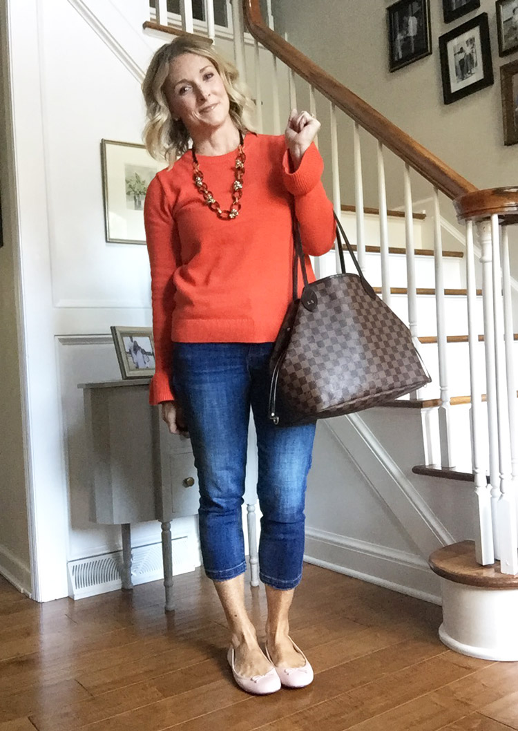 jcrew factory sweater, kut from the kloth jeans, ballet flats