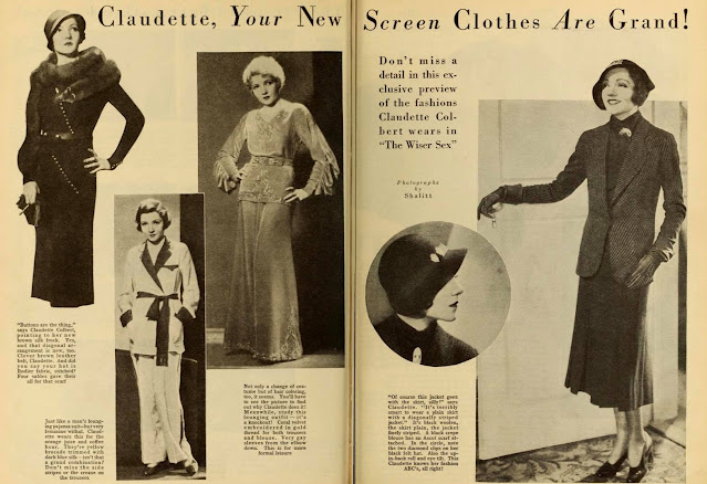 Claudette Colbert models clothes from The Wiser Sex.