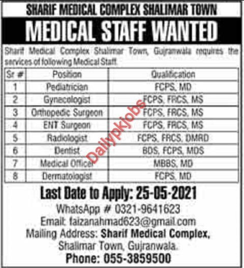 Sharif Medical Complex Latest Jobs Shalimar Town May 2021