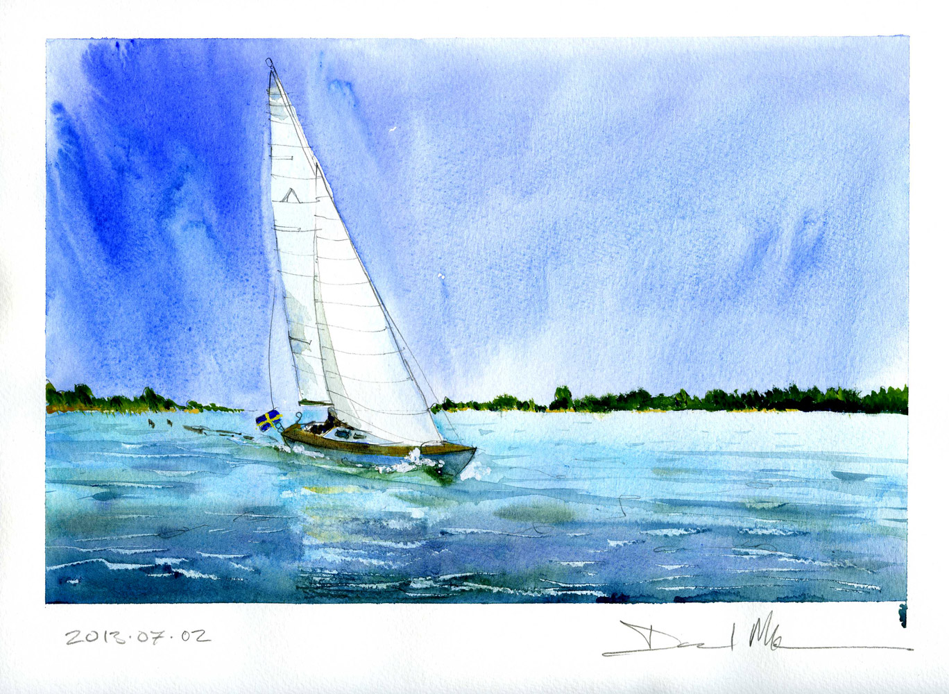 Sailing boat in the archipelago by David Meldrum