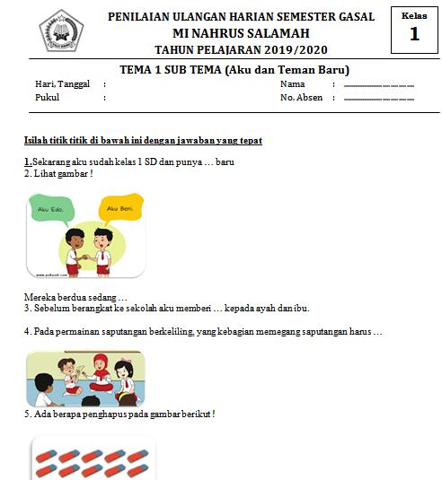Lengkap Contoh Soal Ulangan Harian Kelas 1 SD/MI Tema 1 Sub Tema Aku dan Teman Baru