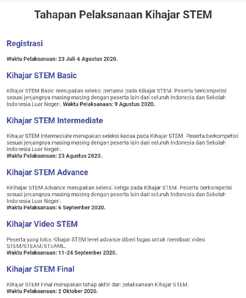 Persyaratan Tata Cara dan Jadwal Pendaftaran Kuis Kihajar Stem Tahun  PERSYARATAN TATA CARA DAN JADWAL PENDAFTARAN KIHAJAR STEM (KUIS KIHAJAR) TAHUN 2020