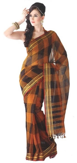 also popularly known as Indian six yards Fashionable Look with Handloom Cotton Saree