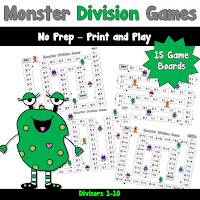 Division games with a monster theme NO PREP Games