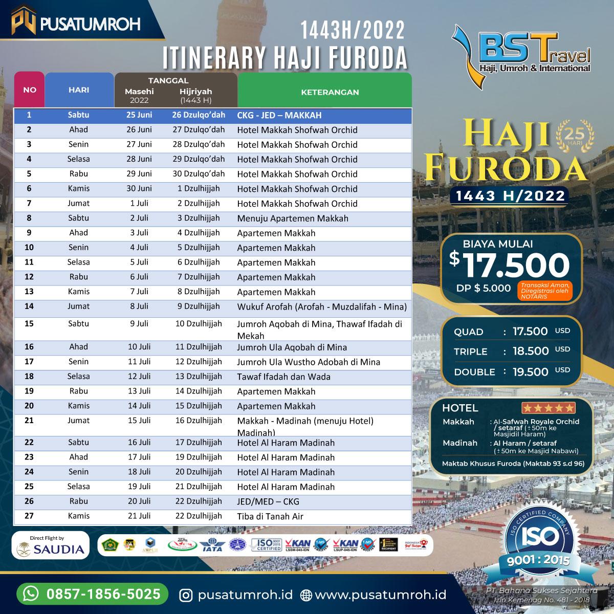 Itinerary Haji Furoda 2022