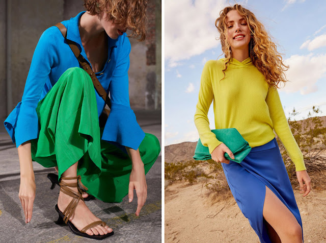Синяя блузка и зеленые брюки, желтый топ и синяя юбка