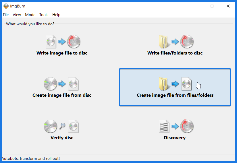 Create Image File From Files Folders