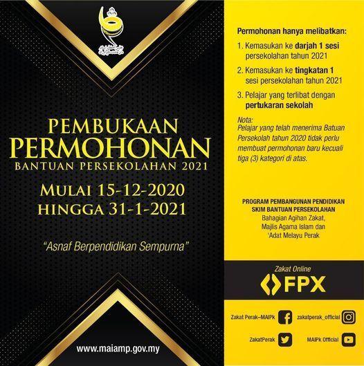 Skim Bantuan Persekolahan 2021 Zakat Perak