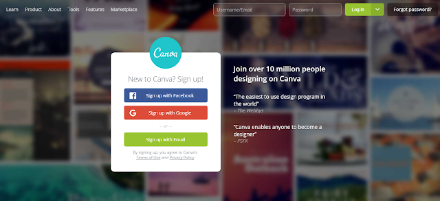 Canva homepage.