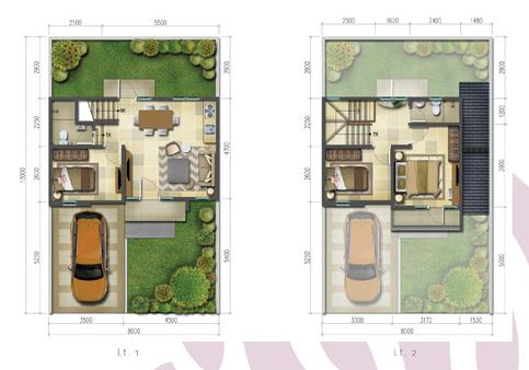 Denah rumah minimalis ukuran 8x13 meter 3 kamar tidur 2 lantai