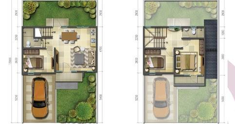 lingkar warna: denah rumah minimalis ukuran 8x13 meter 3