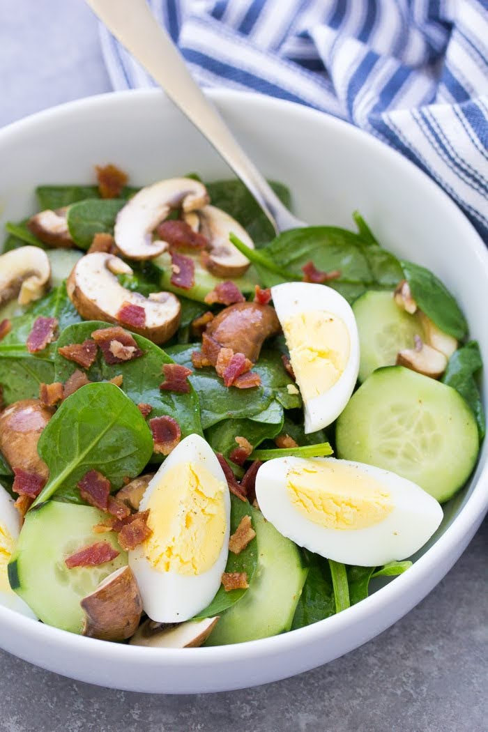Spinach Salad with Bacon and Eggs | Photo Courtesy of Kristine's Kitchen Blog