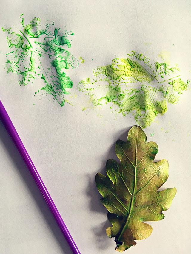 herfstblad afdruk verf