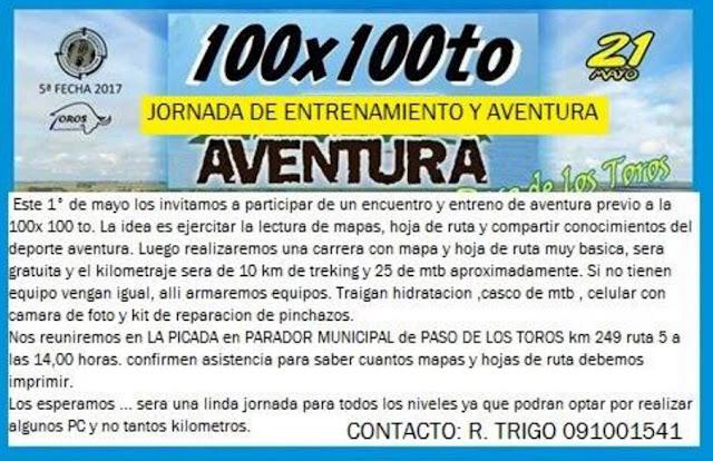 Entrenamiento sobre orientación preparando 100x100to aventura (Paso de los toros, TAC, 01/may/2017)