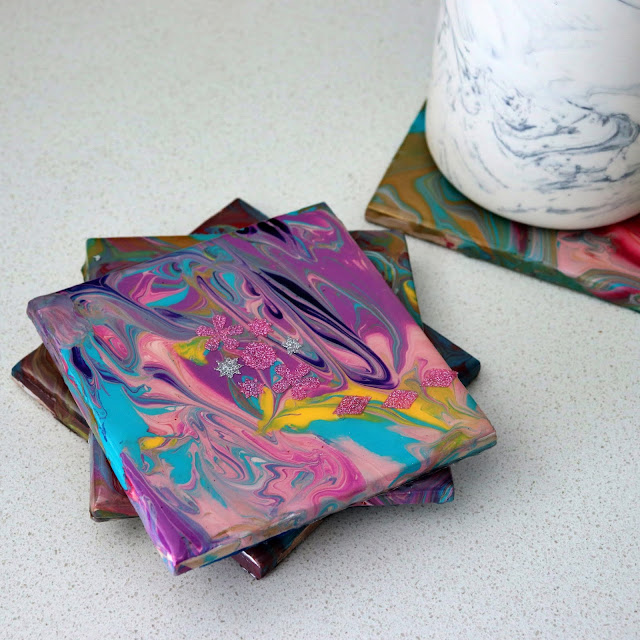 epoxy resin poured over ceramic tiles