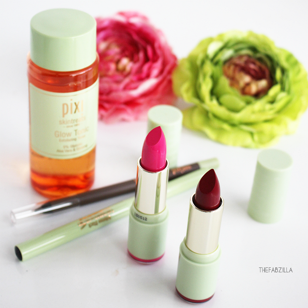 pixi at target, pixi glow tonic, pixi mattelustre lipstick review, swatch, pixi cat eye ink, pixi endless brow gel