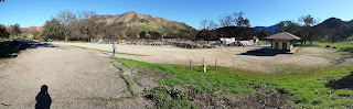 Panorama of burned down Western Town at Paramount.
