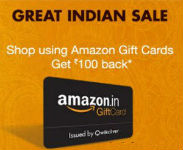 Amazon Great Indian Sale Rs 100 Cashback on Rs.1000 Pay via Amazon Gift Card