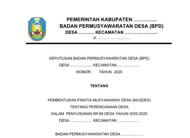 Surat Keputusan (SK) BPD tentang Panitia Pelaksana Kegiatan Musyawarah Desa (Musdes)