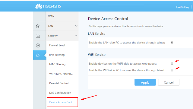 Cara Menonaktifkan ONT Service Wifi Modem Huawei HG8245H5