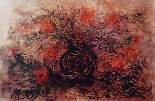 """Pelukis: Affandi Tahun: 1979 Judul : """" Bunga Amarilis """" Ukuran : 100cm X 150cm Media : Oil on Canvas"""