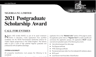 NLNG Overseas Postgraduate Scholarship Form 2021/2022