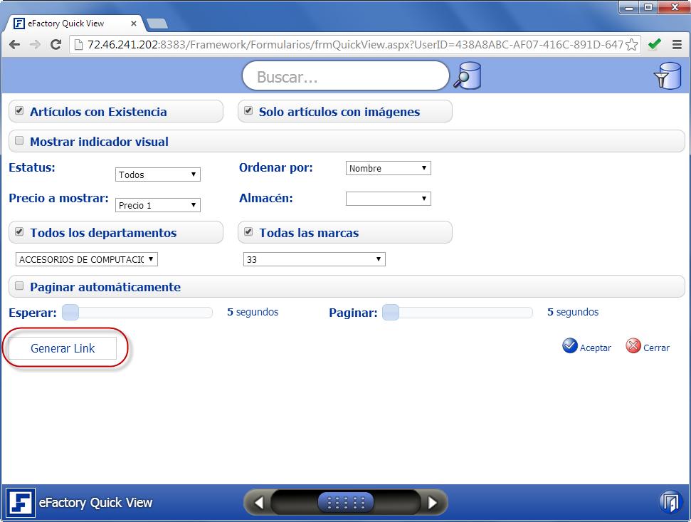 Quick View: Configuración de Parámetros - Productos Web de eFactory para Móviles y Tabletas