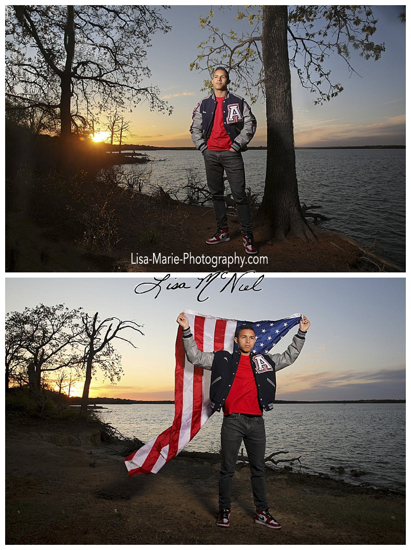young man by lake at sunset in letter jacket with flag