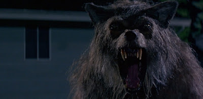 Ted (Michael Pare) turns into a werewolf in a movie still for Bad Moon, a cheesy 1996 horror movie
